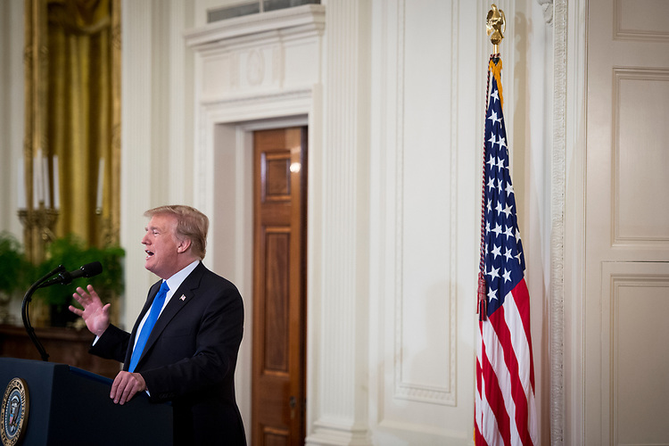 UNITED STATES: July 9: President Donald Trump nominates Judge Brett Kavanaugh to replace Supreme Court Justice Anthony Kennedy in the East Room of the White House July 9, 2018. (Photo by Sarah Silbiger/CQ Roll Call)