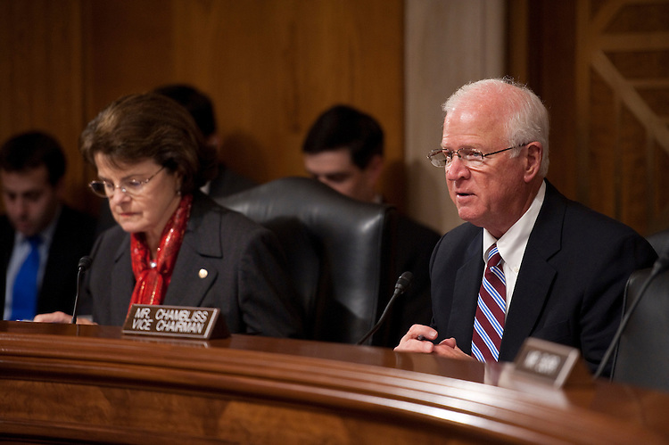 WASHINGTON, DC- Feb. 03: Chairwoman Dianne Feinstein, D-Calif., and ranking member Saxby Chambliss, R-Ga., during the Senate Select Intelligence confirmation hearing on Stephanie O'Sullivan's nomination to be the principal deputy director of national intelligence. (Photo by Scott J. Ferrell/Congressional Quarterly)