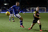 Rotherham United's Will Vaulks (right) blockes a cross from Oldham Athletic's Ryan McLaughlin (left)  during the Sky Bet League 1 match between Oldham Athletic and Rotherham United at Boundary Park, Oldham, England on 13 January 2018. Photo by Juel Miah / PRiME Media Images.