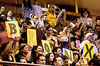 The Bronx Gridlock fans show their support at a Gotham Girls Roller Derby bout in New York City on May 6, 2006.
