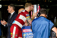 Wigan Warriors' Sam Tomkins kisses the trophy as he collects his winners ring<br /> <br /> Photographer Alex Dodd/CameraSport<br /> <br /> Betfred Super League Grand Final - Wigan Warriors v Warrington Wolves - Saturday 13th October 2018 - Old Trafford - Manchester<br /> <br /> World Copyright &copy; 2018 CameraSport. All rights reserved. 43 Linden Ave. Countesthorpe. Leicester. England. LE8 5PG - Tel: +44 (0) 116 277 4147 - admin@camerasport.com - www.camerasport.com