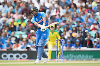 Hardik Pandya (India) pulls to the square boundary during India vs Australia, ICC World Cup Cricket at The Oval on 9th June 2019