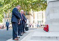 Picture by Allan McKenzie/SWpix.com - 25/08/2017 - Rugby League - Commemorative wreath laying ceremony - The Cenotaph, London, England - Wigan's coach Shaun Wane and captain Sean O'Loughlin are led by chairman Ian Lenagan  in laying a wreath at the Cenotaph.