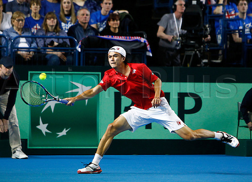 04.03.2016. Barclaycard Arena, Birmingham, England. Davis Cup Tennis World Group First Round. Great Britain versus Japan.Taro Daniel of Japan hits a forehand during his singles match against Great Britain's Andy Murray on day 1 of the tie.