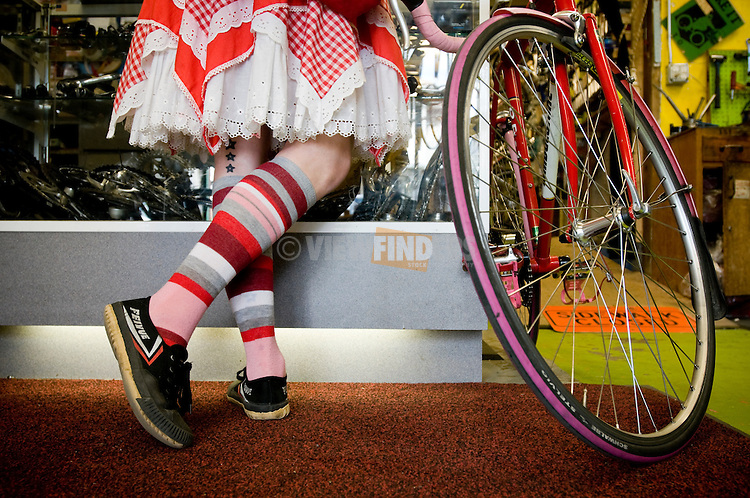 Customer at a Bike Store Portland, Oregon