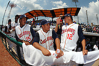 Brooklyn Cyclones pitchers Dawrin Frias (15), Julian Hilario (43), and Hansel Robles (12) during game against the Aberdeen Ironbirds at MCU Park on July 24, 2012 in Brooklyn, NY.  Aberdeen defeated Brooklyn 6-3.  Tomasso DeRosa/Four Seam Images