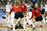 KANSAS CITY, KS - DECEMBER 14: Kenzie Maloney #11 of the University of Nebraska dives for the ball against Penn State University during the Division I Women's Volleyball Semifinals held at Sprint Center on December 14, 2017 in Kansas City, Missouri. (Photo by Tim Nwachukwu/NCAA Photos via Getty Images)