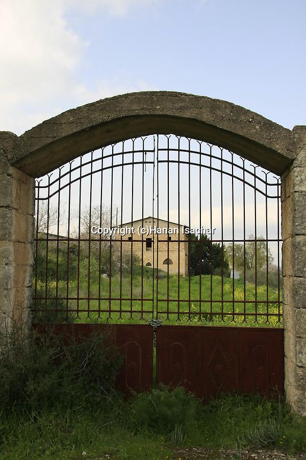 Israel, Shephelah, a gate of the Salesian Monastery in Beth Gemal