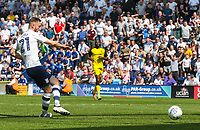 Preston North End's Louis Moult scores his side's second goal <br /> <br /> Photographer Alex Dodd/CameraSport<br /> <br /> The EFL Sky Bet Championship - Preston North End v Burton Albion - Sunday 6th May 2018 - Deepdale Stadium - Preston<br /> <br /> World Copyright &copy; 2018 CameraSport. All rights reserved. 43 Linden Ave. Countesthorpe. Leicester. England. LE8 5PG - Tel: +44 (0) 116 277 4147 - admin@camerasport.com - www.camerasport.com