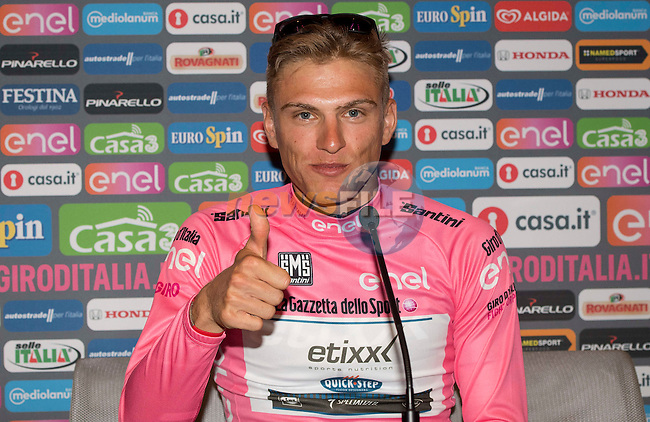 New race leader Marcel Kittel (GER) Etixx-Quick Step press conference after winning Stage 3 of the 2016 Giro d'Italia running 190km from Nijmegen to Arnhem, The Nethrerlands. 8th May 2016.<br /> Picture: ANSA/Claudio Peri   Newsfile<br /> <br /> <br /> All photos usage must carry mandatory copyright credit (&copy; Newsfile   ANSA/Claudio Peri)