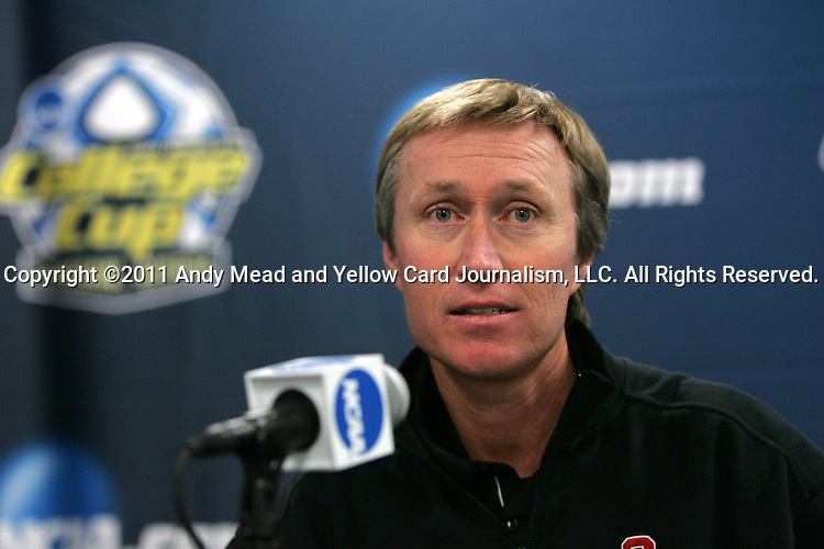 02 December 2011: Stanford head coach Paul Ratcliffe during the postgame press conference. The Stanford University Cardinal defeated the Florida State University Seminoles 3-0 at KSU Soccer Stadium in Kennesaw, Georgia in an NCAA Division I Women's Soccer College Cup semifinal game.
