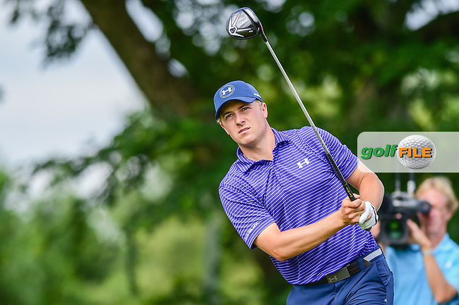 Jordan Spieth (USA) watches his tee shot on 6 during the round 1 of  the AT&amp;T Byron Nelson, TPC Four Seasons, Irving, Texas, USA. 5/19/2016.<br /> Picture: Golffile | Ken Murray<br /> <br /> <br /> All photo usage must carry mandatory copyright credit (&copy; Golffile | Ken Murray)
