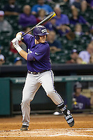 TCU Horned Frogs first baseman Kevin Cron #00 at bat during the NCAA baseball game against the Rice Owls on March 1, 2014 during the Houston College Classic at Minute Maid Park in Houston, Texas. Rice defeated TCU 1-0. (Andrew Woolley/Four Seam Images)