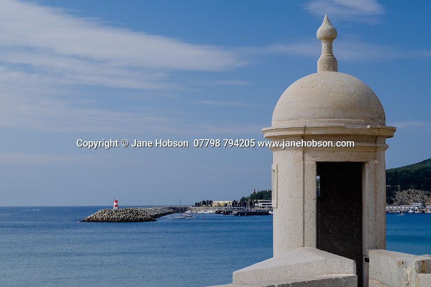 Sesimbra, Lisbon, Portugal. 22.03.2015. View of the harbour at Sesimbra, a seaside town south of Lisbon, Portugal.  © Jane Hobson.