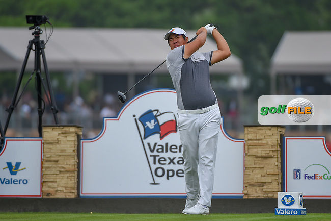 Byeong Hun An (KOR) watches his tee shot on 11 during day 3 of the Valero Texas Open, at the TPC San Antonio Oaks Course, San Antonio, Texas, USA. 4/6/2019.<br /> Picture: Golffile | Ken Murray<br /> <br /> <br /> All photo usage must carry mandatory copyright credit (© Golffile | Ken Murray)