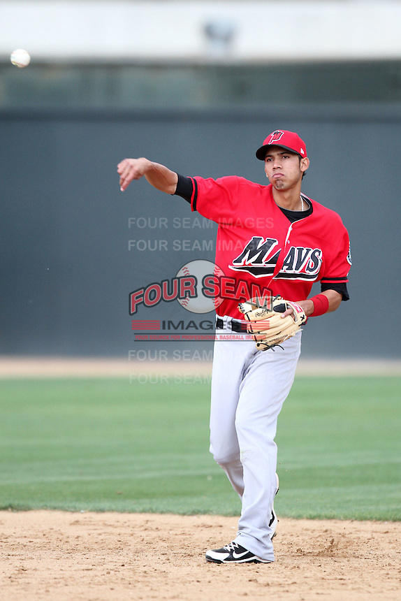 Gabriel Noriega #5 of the High Desert Mavericks throws during game against the Rancho Cucamonga Quakes at second base at The Epicenter in Rancho Cucamonga,California on May 8, 2011. Photo by Larry Goren/Four Seam Images