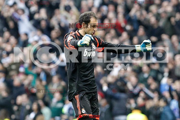 Real Madrid's Diego Lopez celebrates goal during La Liga match.March 02,2013. (ALTERPHOTOS/Acero) /NortePhoto