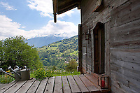The former hay barn has spectacular views of the snow-capped mountains across the valley