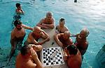 HUNGARY Budapest, chess player in Széchenyi Thermal bath, which is heated by geothermal water / UNGARN Budapest, Badende und Schachspieler im Széchenyi Thermalbad, die Baeder werden mit geothermischen Wasser betrieben