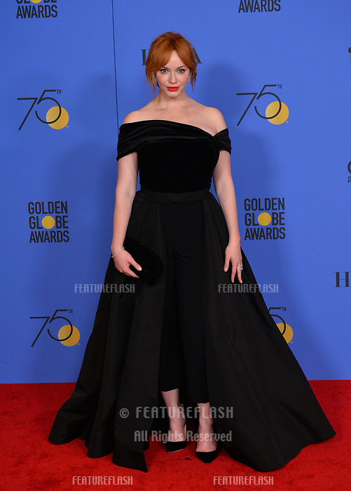 Christina Hendricks at the 75th Annual Golden Globe Awards at the Beverly Hilton Hotel, Beverly Hills, USA 07 Jan. 2018<br /> Picture: Paul Smith/Featureflash/SilverHub 0208 004 5359 sales@silverhubmedia.com