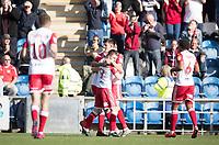 Stevenage celebrate the opening goal during Colchester United vs Stevenage, Sky Bet EFL League 2 Football at the JobServe Community Stadium on 5th October 2019
