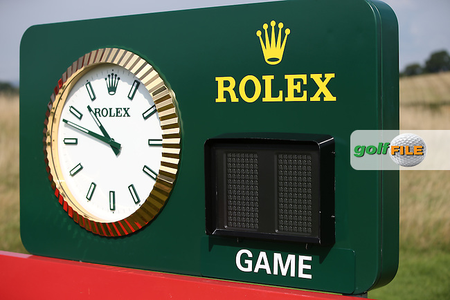 Rolex starter clock at the 2013 ISPS Handa Wales Open from the Celtic Manor Resort, Newport, Wales. Picture:  David Lloyd / www.golffile.ie