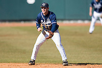 Second baseman Craige Lyerly #16 of the Catawba Indians on defense versus the Shippensburg Red Raiders on February 14, 2010 in Salisbury, North Carolina.  Photo by Brian Westerholt / Four Seam Images