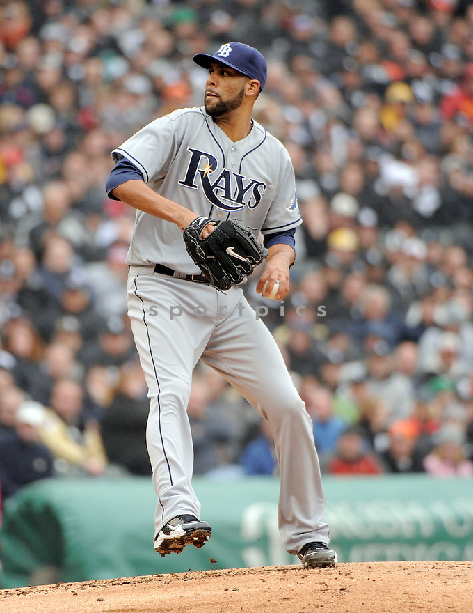 DAVID PRICE, of the Tampa Bay Rays , in actions during the Rays game against the Chicago White Sox at US Cellular Field on April 7, 2011.  The Chicago White Sox won the game beating the Tampa Bay Rays 5-1.