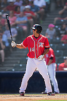 Myles Schroder (16) of the Richmond Flying Squirrels at bat against the Bowie Baysox at The Diamond on May 24, 2015 in Richmond, Virginia.  The Flying Squirrels defeated the Baysox 5-2.  (Brian Westerholt/Four Seam Images)
