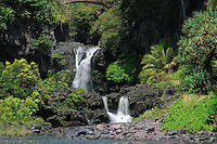 Twin waterfalls feed the seven pools in Ohe'o Gulch in HALEAKALA NATIONAL PARK on Maui in Hawaii USA