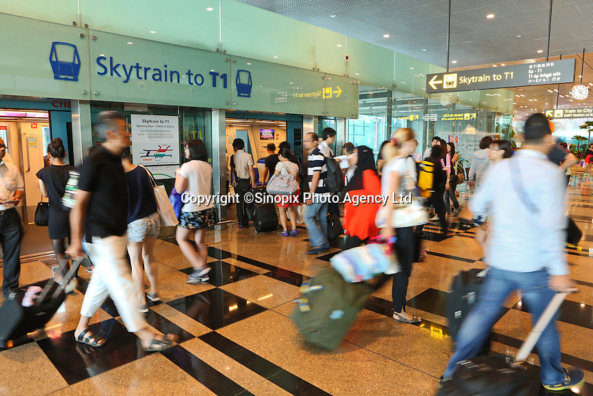 Sky train at Changi airport, Terminal 3, Singapore, 13 August 2015.