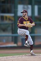 Brett Lilek #26 of the Arizona State Sun Devils pitches against the UCLA Bruins at Jackie Robinson Stadium on March 28, 2014 in Los Angeles, California. UCLA defeated Arizona State 7-3. (Larry Goren/Four Seam Images)