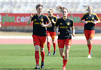 20180228 - LARNACA , CYPRUS :  Belgian Aline Zeler (left) and Tessa Wullaert (r) pictured during warming up of the women's soccer game between The Belgian Red Flames and the Czech Republic , on wednesday 28 February 2018 at GSZ Stadium in Larnaca , Cyprus . This is the first game in group B for Belgium during the Cyprus Womens Cup , a prestigious women soccer tournament as a preparation on the World Cup 2019 qualification duels. PHOTO SPORTPIX.BE | DAVID CATRY