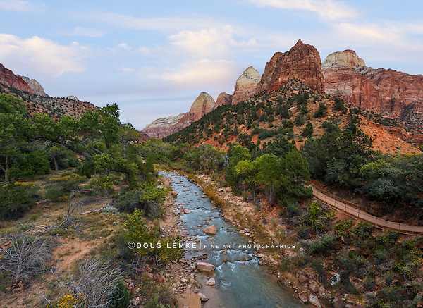 Mountain peaks along the zion canyon overlooking the virgin river, Zion National Park, Utah, USA