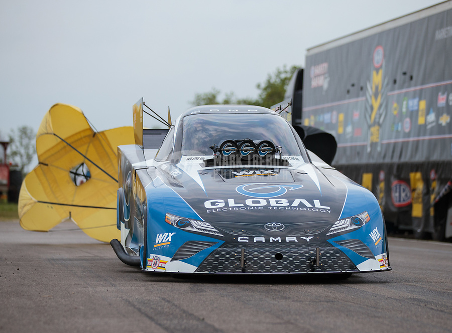Apr 13, 2019; Baytown, TX, USA; NHRA funny car driver Shawn Langdon during qualifying for the Springnationals at Houston Raceway Park. Mandatory Credit: Mark J. Rebilas-USA TODAY Sports