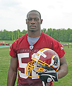 The Washington Redskins first pick in the 2006 NFL Draft, Rocky McIntosh (52) a linebacker from Miami taken in the second round, leaves the practice field at Redskin Park in Ashburn, Virginia after the first practice of the 2006 Rookie Mini-camp on May 5, 2006. <br /> Credit: Arnie Sachs / CNP