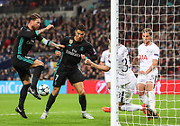 Ben Davies of Tottenham Hotspur blocks an attempt at goal by Sergio Ramos of Real Madrid during the UEFA Champions League Group H match between Tottenham Hotspur and Real Madrid at Wembley Stadium on November 1st 2017 in London, England. Foto Phc / Panoramic / Insidefoto