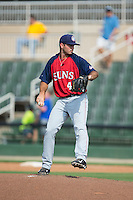 Hagerstown Suns relief pitcher Ryan Brinley (45) in action against the Kannapolis Intimidators at CMC-Northeast Stadium on August 16, 2015 in Kannapolis, North Carolina.  The Suns defeated the Intimidators 7-2 in game one of a double-header.  (Brian Westerholt/Four Seam Images)