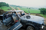 Abandoned car on the route of the proposed road. Solsbury Hill road protest.
