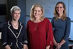 Left to right, Doris Rusch, associate professor of game development, Dorothy Kozlowski, Vincent de Paul professor of biological sciences and director of the neurosciences program, and Sonya Crabtree-Nelson, assistant professor of social work, are collaborating on an Academic Initiative project to research the effects of traumatic brain injury on survivors of domestic violence. They will hold a conference on the subject in February of 2018, and Rusch is developing a game that will increase empathy for survivors. (DePaul University/Jeff Carrion)