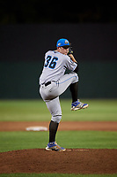 Hudson Valley Renegades Trey Cumbie (36) delivers a pitch during a game against the Auburn Doubledays on September 5, 2018 at Falcon Park in Auburn, New York.  Hudson Valley defeated Auburn 11-5.  (Mike Janes/Four Seam Images)
