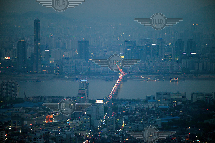 A view over the city of Seoul from the top of the N Seoul Tower.