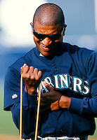 Josias Manzanillo of the Seattle Mariners during a spring training game at Peoria Sports Complex in Peoria, Arizona during the 1997 season.(Larry Goren/Four Seam Images)