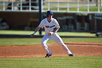 Mitch Farris (15) of the Wingate Bulldogs takes his lead off of first base against the Concord Mountain Lions at Ron Christopher Stadium on February 2, 2020 in Wingate, North Carolina. The Mountain Lions defeated the Bulldogs 12-11. (Brian Westerholt/Four Seam Images)