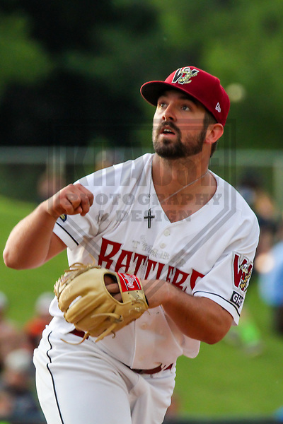Wisconsin Timber Rattlers pitcher Jordan Desguin (28) during a Midwest League game against the Quad Cities River Bandits on June 8, 2017 at Fox Cities Stadium in Appleton, Wisconsin.  Wisconsin defeated Quad Cities 8-3. (Brad Krause/Krause Sports Photography)