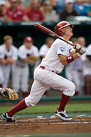 Oklahoma's Caleb Bushyhead watches a HR against South Carolina in Game 3 of the NCAA Division One Men's College World Series on Sunday June 20th, 2010 at Johnny Rosenblatt Stadium in Omaha, Nebraska.  (Photo by Andrew Woolley / Four Seam Images)