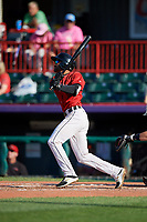 Erie SeaWolves Derek Hill (11) at bat during an Eastern League game against the Richmond Flying Squirrels on August 28, 2019 at UPMC Park in Erie, Pennsylvania.  Richmond defeated Erie 6-4 in the first game of a doubleheader.  (Mike Janes/Four Seam Images)