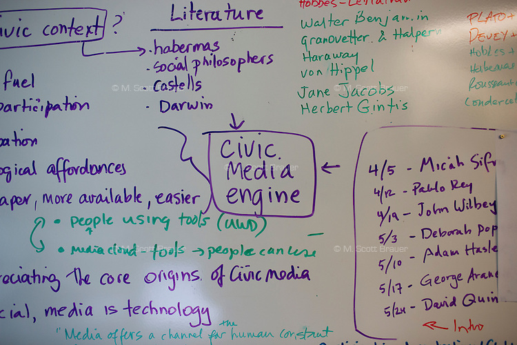 Project notes fill a whiteboard in the Center for Civic Media at MIT's Media Lab in Cambridge, Massachusetts, USA.