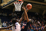 02 January 2012: Duke's Elizabeth Williams (1) blocks a shot by Virginia's Telia McCall (30). The Duke University Blue Devils defeated the University of Virginia Cavaliers 77-66 at Cameron Indoor Stadium in Durham, North Carolina in an NCAA Division I Women's basketball game.