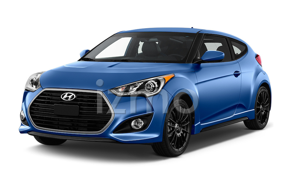 2016 Hyundai Veloster 1.6 Turbo Rally Edition Manual 4 Door Hatchback Angular Front stock photos of front three quarter view